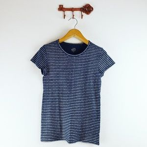 J. Crew Blue and Silver Striped T-Shirt